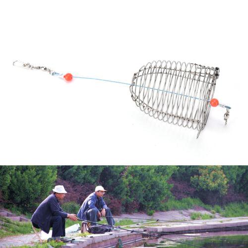 Cage Fishing Trap Korb Feeder Holder Edelstahl Draht Angeln Köder YR