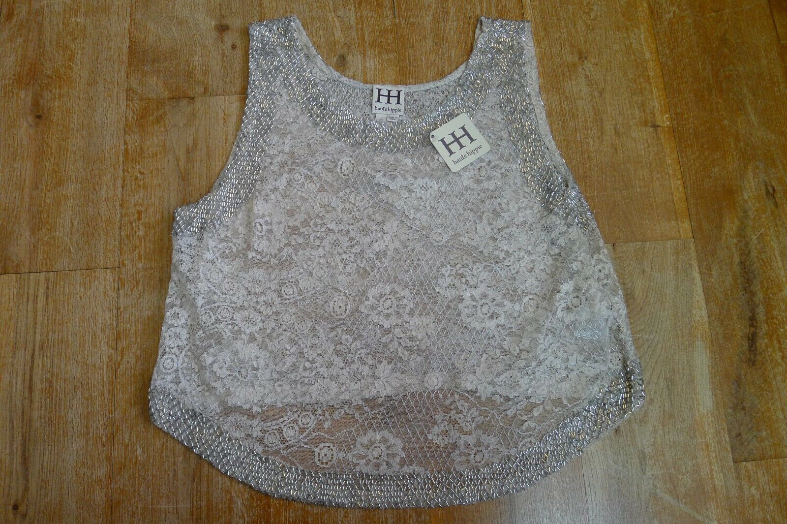 New with tag Haute Hippie sleeveless jeweled cropped top Größe UK L