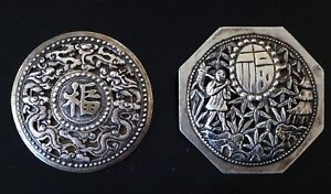 Deux-broches-argent-Chine-mark-vietnam-brooch-silver-chinese-XIX