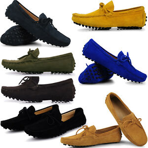 Casual Suede Moccasin Men Driving Boots Leather Tie Slip On Boat Shoes 8 Colors