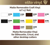 12 X 5' Roll Removable Adhesive Matte Vinyl For Crafts, Decals, Home Decor