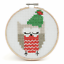 Counted-Cross-Stitch-Kit-with-Hoop-Beginner-Level-Christmas-Owl thumbnail 2