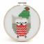Puntada-cruzada-contada-Kit-Con-Aro-nivel-principiante-Navidad-con-dibujo-de-buho miniatura 2