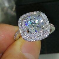 Noble 18K White Gold Sparkling Clear Zircon Stone Wedding Ring for Women Gift