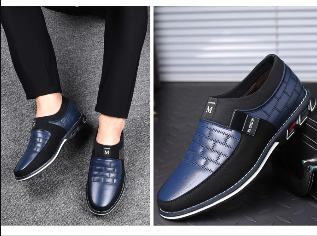 Mens Genuine Leather Casual Shoes Platform Slip on Loafers Moccasins Sneakers