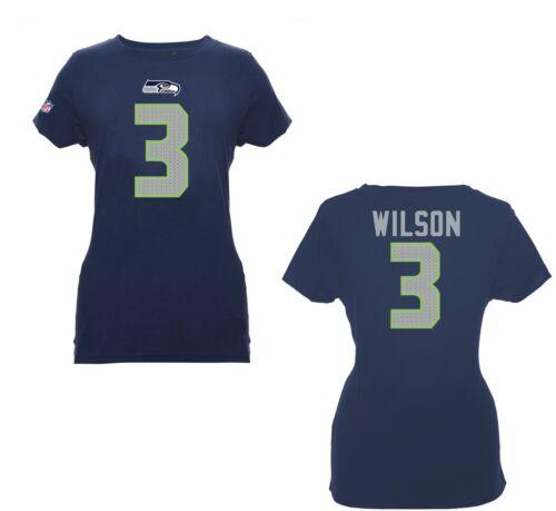 NFL Damen T-Shirt Trikot SEATTLE SEAHAWKS Russell Wilson 3 navy Women Football