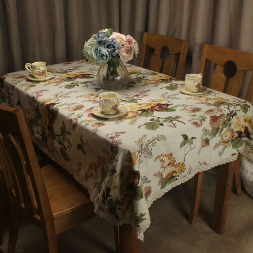 CURCYA Beige Cotton Tablecloth Flowers Table Cloth Cover for Home Kitchen Decor