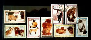 Full-Set-of-8-Dhufar-Stamps-Cats-Precancelled-Not-Hinged