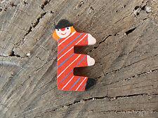 NUOVO Letterina E Clown in legno vintage