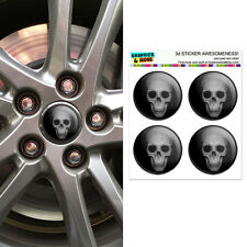 Human Skull - Front View - Wheel Center Cap 3D Domed Stickers Badges - Set of 4
