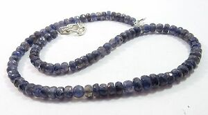 107.25Ct 5-6mm Natural Iolite Gemstone Rondelle Faceted Beads NECKLACE S116