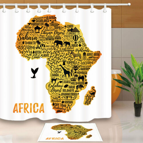 Africa Travel Guide Map Bathroom Polyester Fabric Shower Curtain Set 71inches