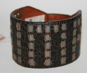 New-PUMA-Fashion-Leather-Bracelet-Studs-Large-Bracelet-Black-Logo-Vintage-Style