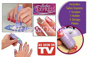 Nail Art Stamping Kit Finger Stencil Salon Express As Seen On Tv Ebay