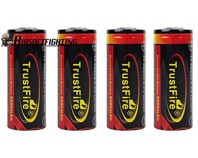 4X TrustFire 26650 3.7V 5000mAh Li-ion Rechargeable Battery Black for SureFire