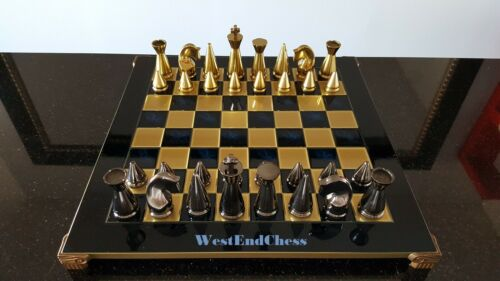 Contemporary Chess Pieces Black and Gold Metal Chessmen