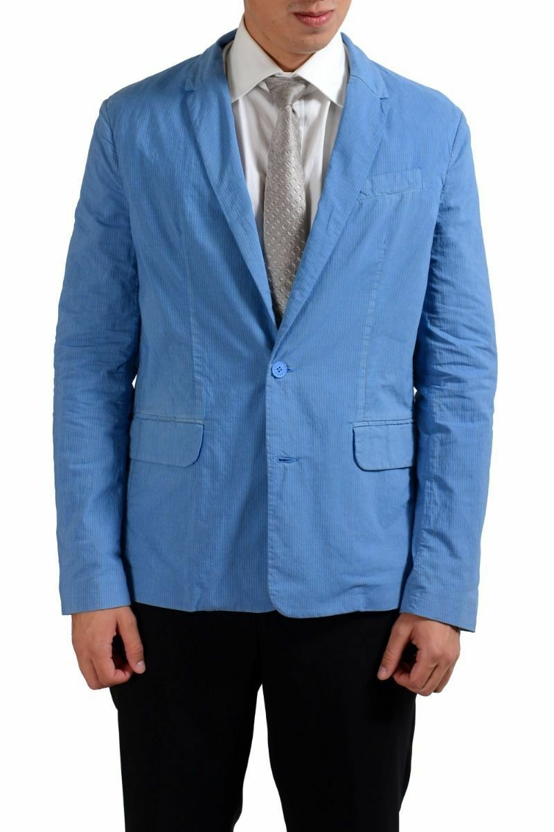 Versace Jeans Blau Gestreift Zwei Knopf Herren Blazer Sport Mantel Sz 40 42