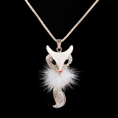 Women Style Diamond Long Chain Owl Fox Pendant Sweater Necklace Fashion
