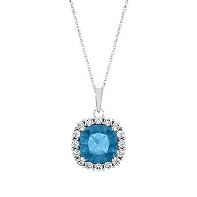Silver Genuine 6mm Cushion Blue Topaz & Created White Sapphire Pendant