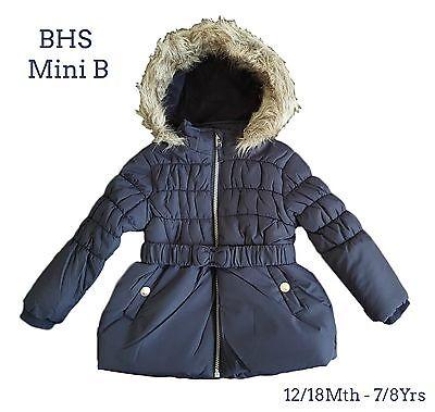 Girls Coat Kids Baby Jacket Winter Quilted Hooded Fleece Lined Ex Toby//Tiger