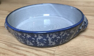 Antique-Vintage-Pottery-Blue-amp-White-Spongeware-Casserole-Dish-Baking-Pie-Roast