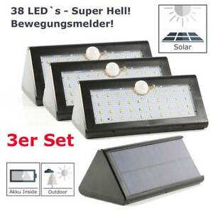 LED Wand-Lampe Fluter mit Bewegungsmelde<wbr/>r und Akku 3er Set
