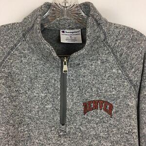 University-of-Denver-Women-039-s-1-4-Zip-Sweater-Jacket-Champion-Marl-Gray-Size-XL