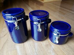 Set 3 Winsome Cobalt Blue Kitchen Ceramic Stoneware Canisters With Latch Lid Ebay