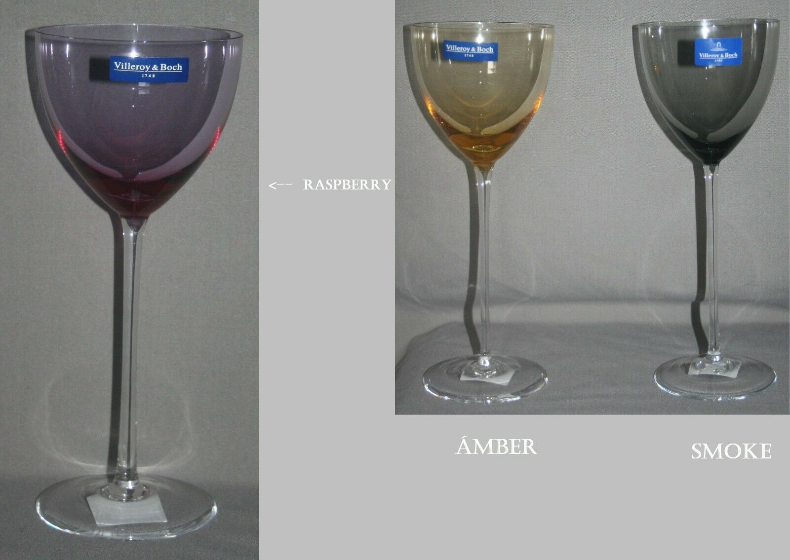 1B 1B 1B WARE - 4 er SET - Villeroy & Boch -MANKAI- Wasserkelch SEKT GLAS Farbe  SMOKE | Charmantes Design  282e88