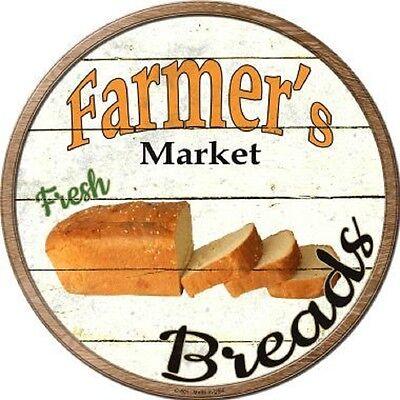 FARMERS MARKET FRESH BREAD METAL NOVELTY ROUND CIRCULAR SIGN