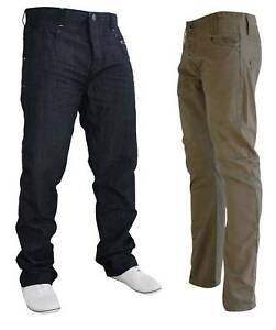 Mens-CROSSHATCH-Straight-Leg-Khaki-Chinos-Trousers-Pants-Jeans-Sizes-28-36-in