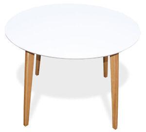 kmh esstisch 105 cm weiss esszimmertisch k chentisch holztisch tisch rund ebay. Black Bedroom Furniture Sets. Home Design Ideas