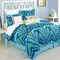 Trina Turk Residential King Peacock Blue Turquoise Bedskirt Cotton 15-inch
