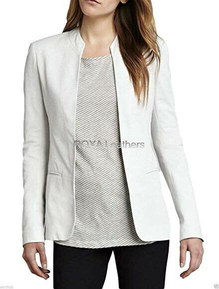 ROXA Basic Women Urban White Genuine Lambskin Real Leather Jacket Work Wear Coat