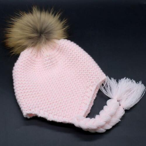 Unisex Toddler Baby Hats Caps Winter Crochet Hat Fur Wool Knit Beanie Warm Cap