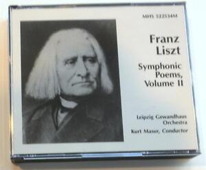 Details About Franz Liszt Symphonic Poems Volume 2 Kurt Masur Leipzig Gewandhaus Mhs 2 Cd
