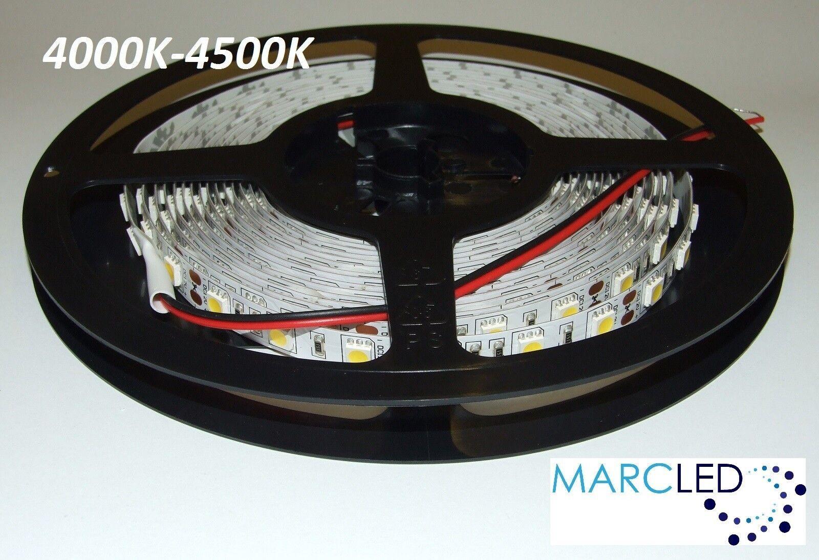 12VDC SMD5050 LED strip 4000K-4500K, 5m (72W, 300LEDs), IP20, 60LEDs m, 14.4W m