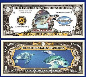 FREE SLEEVE Salt Water Sport Fishing Million Dollar Funny Money Novelty Note