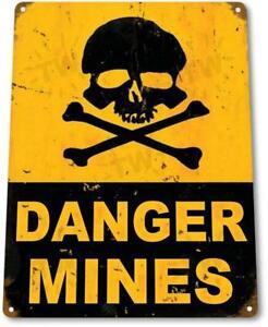 Danger-Mines-Caution-Warning-Garage-Bones-Skull-Room-Cave-Metal-Decor-Metal-Sign