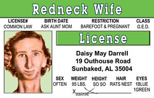 Redneck-Woman-wife-plastic-ID-card-Drivers-License-Daisy-May