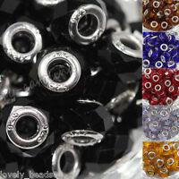5pcs Silver Glass Spacer Murano Big Hole Beads Fit European Bracelet DIY 14x10mm