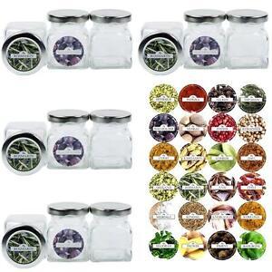12-Gewuerzglaeser-120-ml-Gewuerzdosen-Glasdosen-inkl-24-Etiketten-rbu-Deckel-Silber