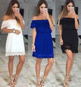 Womens-Off-shoulder-Bridesmaid-Wedding-Party-Cocktail-Lace-Maxi-Mini-Short-Dress