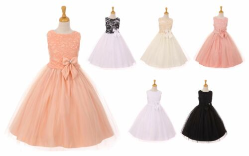 New Flower Girls Lace Satin Dress Pageant Wedding Party Birthday Formal 6413