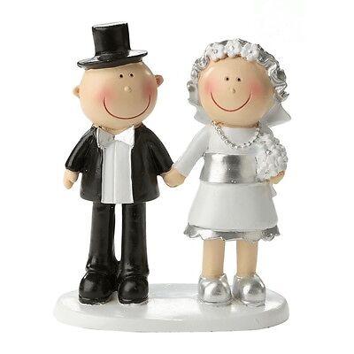 Silber Paar Brautpaar Hochzeitspaar lustig Comic Tortenfigur Silberne Hochzeit