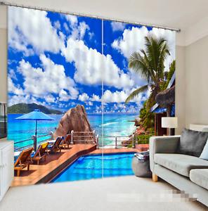 3D Mar Pacífico 43 Cortinas de impresión de cortina de foto Blockout Cortinas Ventana De Tela