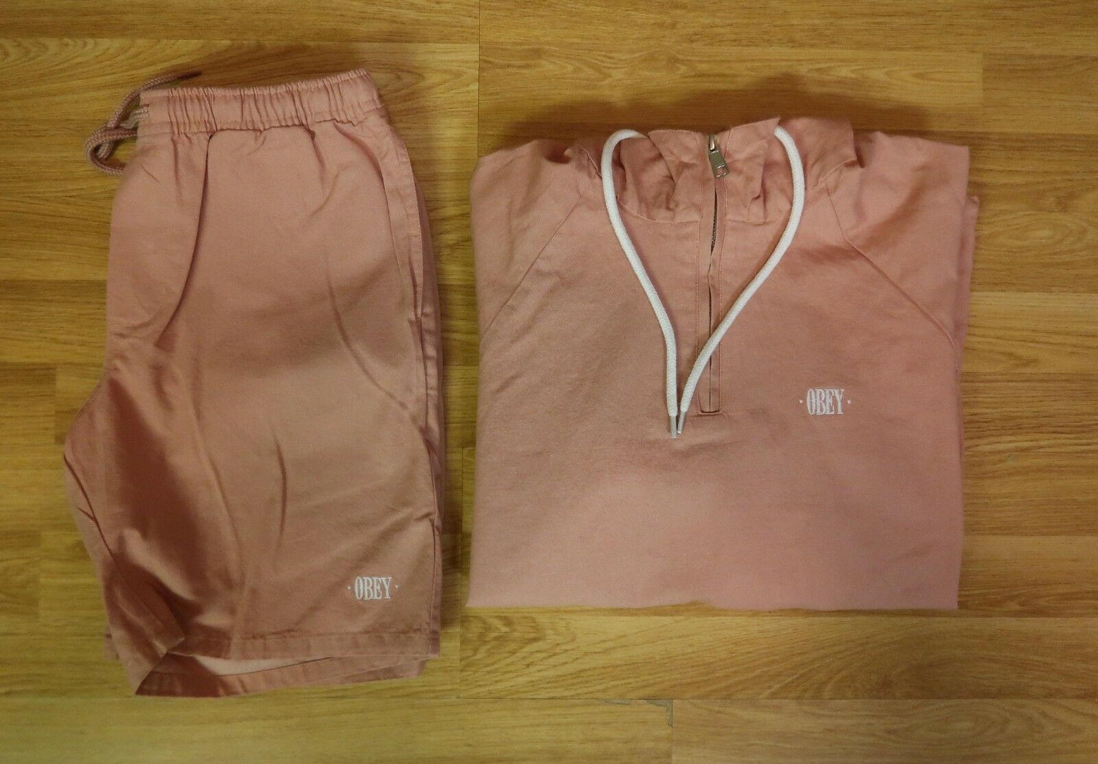 Brand New Pink Obey Set Hoodie and Shorts Sized Small