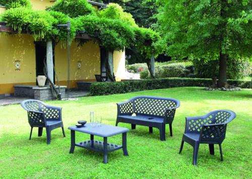 Set Da Giardino 2 Sedie 1 Panchina 1 Tavolino Senza Cuscino Antracite Veranda