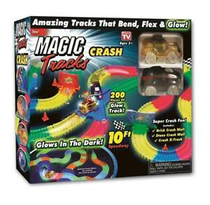 Magic Tracks CRASH with 2 Race Cars and 10 feet of Glow in The Dark Racetracks!