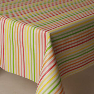 Image Is Loading Multi Coloured Striped Pvc Vinyl Table Cloth Protector